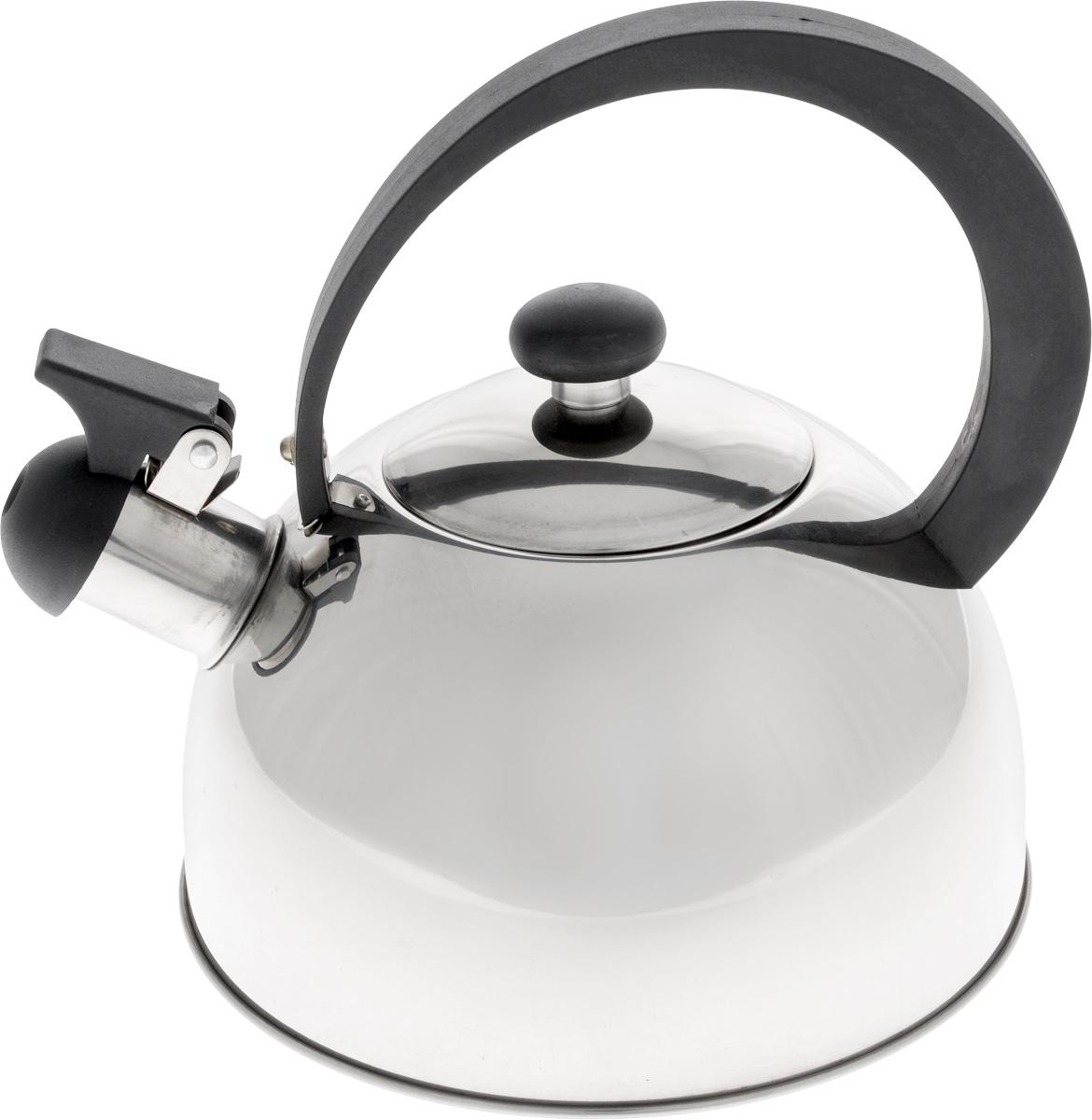 Чайник Добрыня, со свистком, 2 л. DO-2909DO-2909Чайник со свистком Добрыня изготовлен из высококачественной нержавеющей стали, что обеспечивает долговечность использования. Носик чайника оснащен откидным свистком, звуковой сигнал которого подскажет, когда закипит вода. Ручка, изготовленная из бакелита, не нагревается и сможет уберечь ваши руки от контакта с высокими температурами.Чайник Добрыня - качественное исполнение и стильное решение для вашей кухни.Подходит для использования на всех типах плит, кроме индукционных. Можно мыть в посудомоечной машине.Высота чайника (с учетом ручки и крышки): 19 см.Диаметр чайника (по верхнему краю): 8,5 см.Диаметр основания: 18 см.Высота стенки: 10 см.