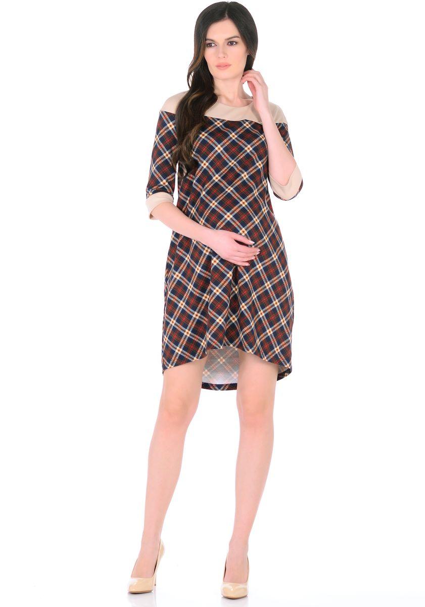 Платье для беременных 40 недель, цвет: бежевый, коричневый. 300328. Размер 46300328Стильное платье для беременных женщин от бренда 40 недель изготовлено из трикотажного полотна. Ткань приятная к телу, мягкая и не мнется. Модель свободного трапециевидного покроя, с высокой отрезной кокеткой, с рукавами 1/2, вырез горловины округлый, спинка слегка удлиненная. Стильная комбинированная расцветка привлекает внимание, декоративный элемент на груди придает изюминку. Платье хорошо садится по фигуре, продуманный крой предусматривает пространство для растущего животика. Отражая последние модные тенденции, такое платье подчеркнет хороший вкус, сделает образ беременной женщины модным, современным и привлекательным.