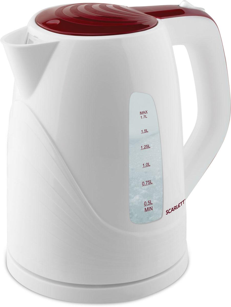 Scarlett SC-EK18P36, White Maroon электрический чайникSC-EK18P36Электрический чайник Scarlett SC-EK18P36 станет отличным дополнением к набору вашей мелкой бытовой техники для кухни. Среди явных преимуществ можно отметить безопасность использования и значительную экономию времени; вода в таких чайниках закипает за считанные минуты.Чайник выполнен из высокопрочного пластика и снабжен кнопкой для открывания крышки, скрытым нагревательным элементом и индикатором уровня воды. В приборе предусмотрена многоуровневая система защиты: чайник автоматически отключается при закипании и при недостаточном количестве воды в резервуаре.