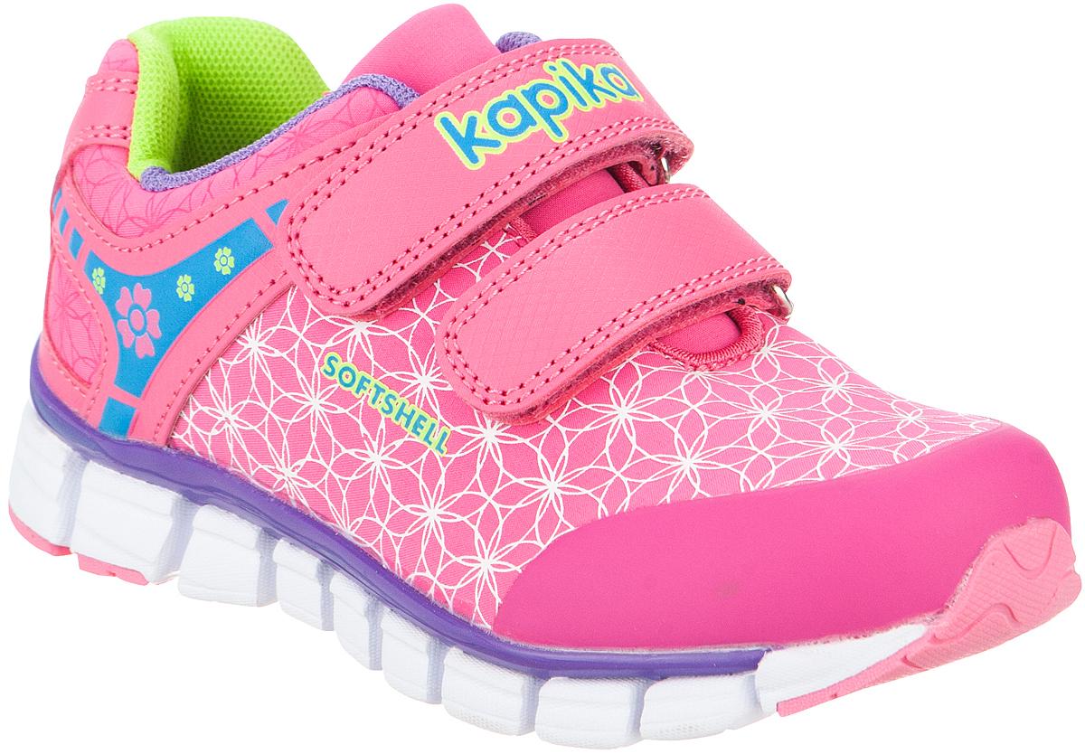 Кроссовки для девочки Kapika, цвет: фуксия. 72184с-1. Размер 2972184с-1Удобные и стильные кроссовки для девочки Kapika прекрасно подойдут вашему ребенку для активного отдыха и повседневной носки. Верх модели выполнен из искусственной кожи и текстиля. Стелька изготовлена из натуральной кожи, благодаря чему обувь дышит, что обеспечивает идеальный микроклимат. Для удобства обувания и надежной фиксации стопы на подъеме имеются два ремешка на липучках. Рельефная подошва не скользит и обеспечивает хорошее сцепление с поверхностью. Кроссовки оформлены принтом и логотипом бренда. В такой обуви ногам вашего ребенка,будет комфортно и уютно!