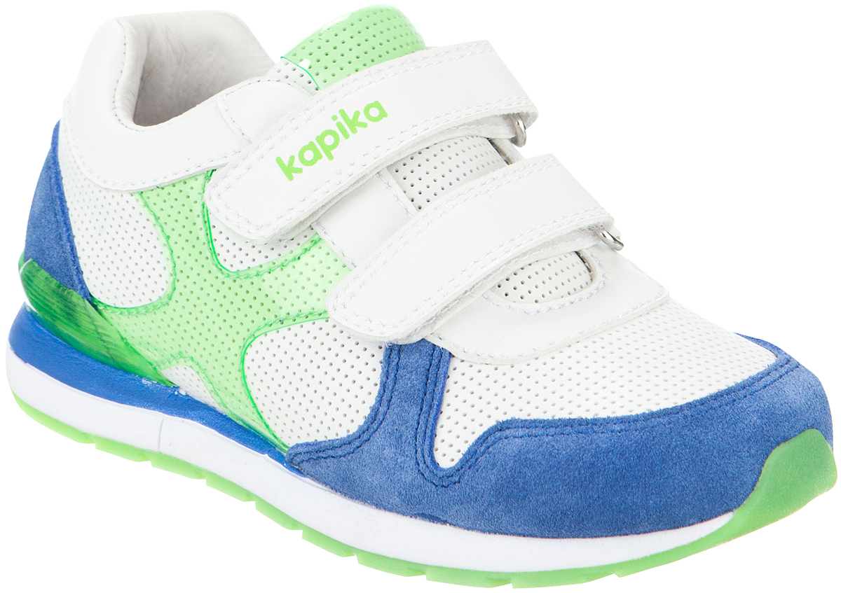 Кроссовки для мальчика Kapika, цвет: синий, салатовый, белый. 72181-2. Размер 2972181-2Удобные и стильные кроссовки для мальчика Kapika прекрасно подойдут вашему ребенку для активного отдыха и повседневной носки. Верх модели выполнен из высококачественного материала и дополнен перфорацией. Стелька изготовлена из натуральной кожи, благодаря чему обувь дышит, что обеспечивает идеальный микроклимат. Для удобства обувания и надежной фиксации стопы на подъеме имеются два ремешка на липучках. Рельефная подошва не скользит и обеспечивает хорошее сцепление с поверхностью. Кроссовки оформлены логотипом бренда. В такой обуви ногам вашего ребенка,будет комфортно и уютно!