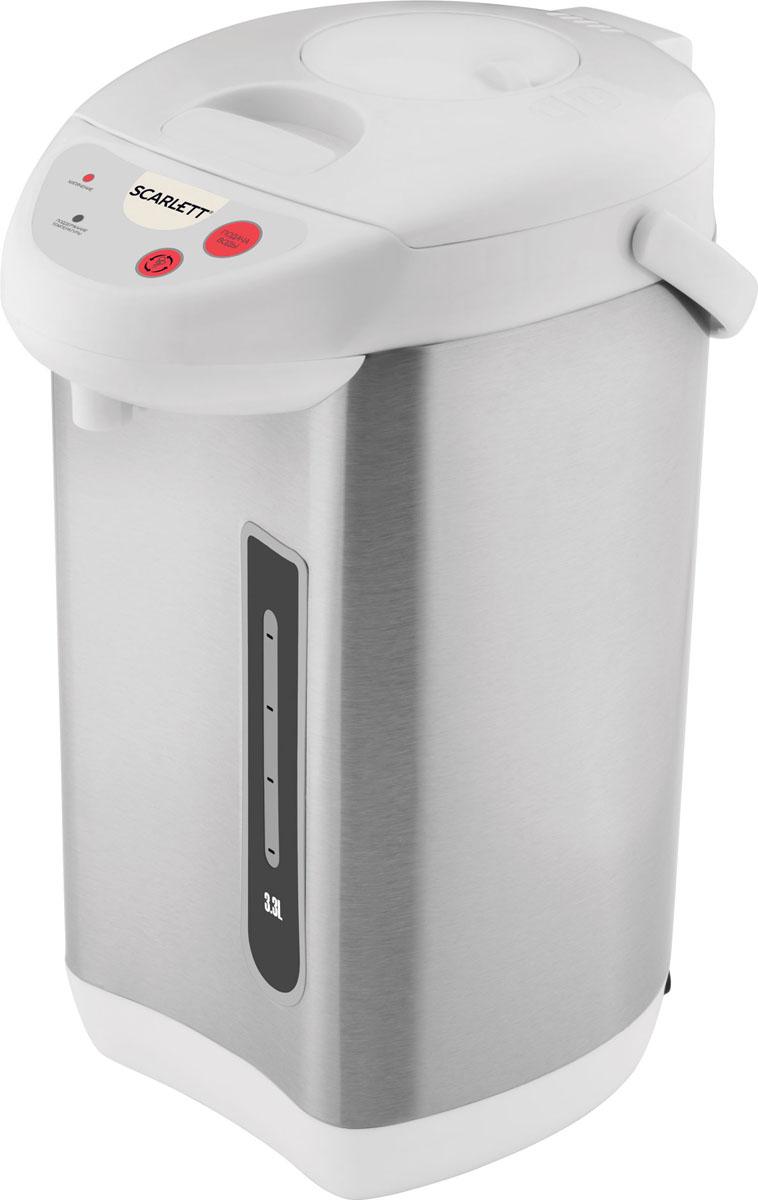 Scarlett SC-ET10D03, Steel White термопотSC-ET10D03Термопот Scarlett SC-ET10D03 - это современное и мощное устройство для быстрого нагрева воды. Модель рассчитана на объём до 3,3 л, есть функция поддержания температуры воды.Модель может поддерживать температуру воды равной 95 градусов Цельсия. В термопоте установлен электромеханический тип насоса, есть блокировка подачи воды. Индикатор уровня жидкости подскажет, сколько воды осталось в устройстве.Scarlett SC-ET10D03 имеет сравнительно невысокую потребляемую мощность - всего 730 Вт, что делает её экономной. Устройство и колба для воды изготовлены из нержавеющей стали, что гарантирует их длительный срок службы.Три способа подачи воды: механический, автоматический, прямойМеханическая блокировка разлива водыРежим повторного кипяченияУдобная панель управленияВозможность вращения на 360°Удобная ручка для переноскиСъемная крышкаДехлорирование воды повторным кипячением