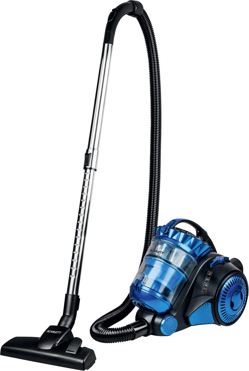 Scarlett IS-VC82C05, Blue пылесосIS-VC82C05Пылесос с контейнером для пыли Scarlett IS-VC82C05 использует систему многоуровневых циклонных фильтров. Она помогает удалять мельчайшие частицы распространённых аллергенов, обходясь при этом без одноразовых мешков. Кроме того, такая конструкция позволяет всегда сохранять высокую мощность всасывания, делая уборку быстрой и удобной.Фильтры HEPA задерживают пыльцу растений, частицы табачного дыма и споры плесневых грибков. За счёт этого уборка с применением такого пылесоса положительным образом отражается на здоровье и самочувствии человека.Расположение регулятора мощности потока воздуха на ручке значительно облегчает доступ к нему. Для включения пылесоса и сматывания провода не придётся наклоняться – на кнопки большого размера можно нажимать ногами. В комплект поставки входят насадки для напольных покрытий и труднодоступных мест, а также турбощётка. Её вращение позволяет приподнимать ворс мебельной обивки или ковров, удаляя отложения пыли, образующиеся в основании ткани.Как выбрать пылесос. Статья OZON Гид