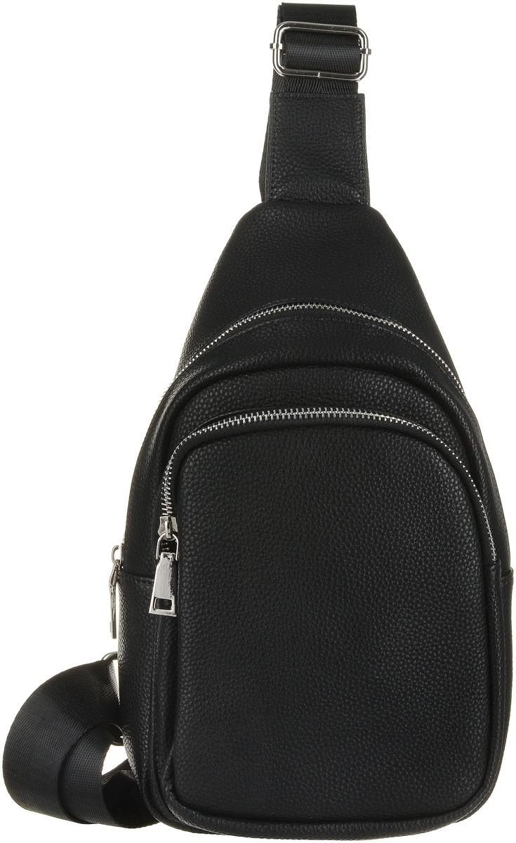 Рюкзак мужской OrsOro, цвет: черный. D-038/1D-038/1Рюкзак OrsOro выполнен из высококачественной искусственной кожи зернистой текстуры. Изделие оснащено одной лямкой, длинакоторой регулируется с помощью пряжки. На лицевой стороне расположен один объемный карман на молнии. Рюкзак закрывается с помощьюмолнии. Внутри расположено главное отделение, которое содержит один небольшой накладной карман для мелочей.