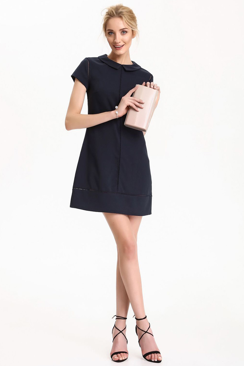 Платье Top Secret, цвет: темно-синий. SSU1815GR. Размер 40 (48)SSU1815GRПлатье Top Secret выполнено из полиэстера, вискозы и эластана. Модель с отложным воротником и короткими рукавами.