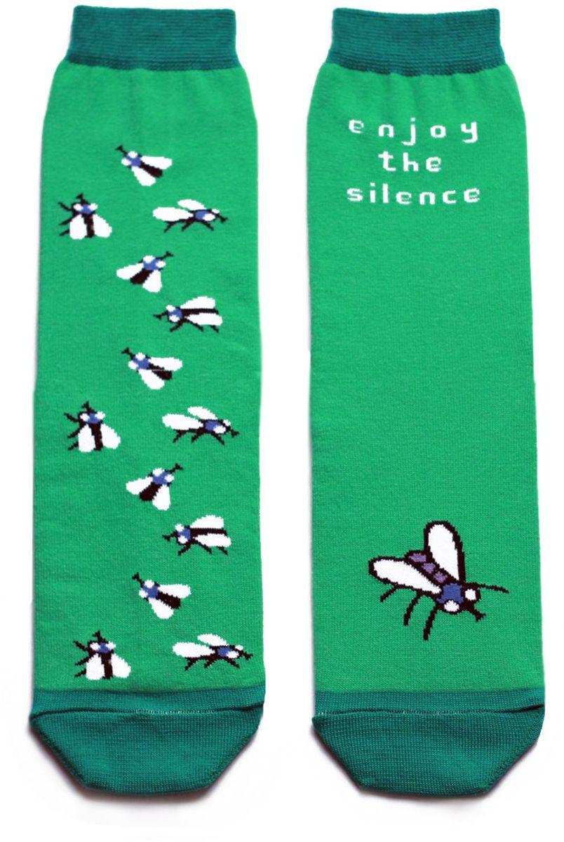 Носки детские Big Bang Socks, цвет: зеленый. ca1411. Размер 30/34ca1411Яркие носки Big Bang Socks изготовлены из высококачественного хлопка с добавлением полиамидных и эластановых волокон, которые обеспечивают великолепную посадку. Носки отличаются ярким стильным дизайном. Они оформлены изображением насекомых и надписью enjoy the silence (наслаждайся тишиной).