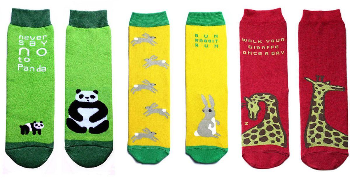 Носки детские Big Bang Socks, цвет: салатовый, желтый, красный 3 пары. p0313. Размер 30/34 носки minecraft socks 3 pack green зеленые s 3 пары 11750