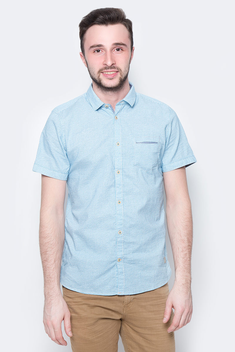 Рубашка мужская Tom Tailor, цвет: белый, голубой. 2033315.00.10_8005. Размер L (50) рубашка мужская tom tailor цвет вишневый голубой белый 2032054 00 10 1000 размер m 48