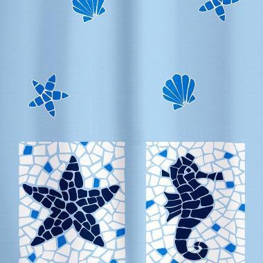 """Шторка для ванной Tatkraft """"Морские мотивы"""", изготовленная из полиэстера со   специальной водоотталкивающей пропиткой, оформлена рисунком на морскую тематику. Имеет антигрибковое покрытие. Шторка быстро   сохнет, легко моется и обладает повышенной износостойкостью. В комплекте   также имеется 12 овальных колец из пластика.  Шторка оснащена двумя магнитами по углам для лучшей фиксации. Мягкая и приятная на ощупь шторка для ванной Tatkraft """"Морские мотивы"""" порадует вас своим ярким дизайном и   добавит уюта в ванную комнату.   Характеристики:  Материал: 100% полиэстер. Цвет: белый, голубой. Размер шторки (Ш х В): 180 см х 180 см. Количество колец: 12 шт."""