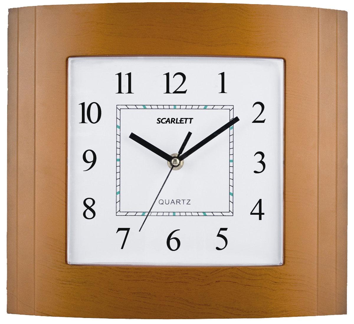 Scarlett SC-55QP часы настенныеSC-55QPНастенные кварцевые часы Scarlett SC-55QP, изготовленные из пластика, прекрасно впишутся в интерьер вашего дома. Прямоугольные часы имеют три стрелки: часовую, минутную и секундную, циферблат защищен прозрачным пластиком. Часы работают от 1 батарейки типа АА напряжением 1,5 В (батарейка в комплект не входит).