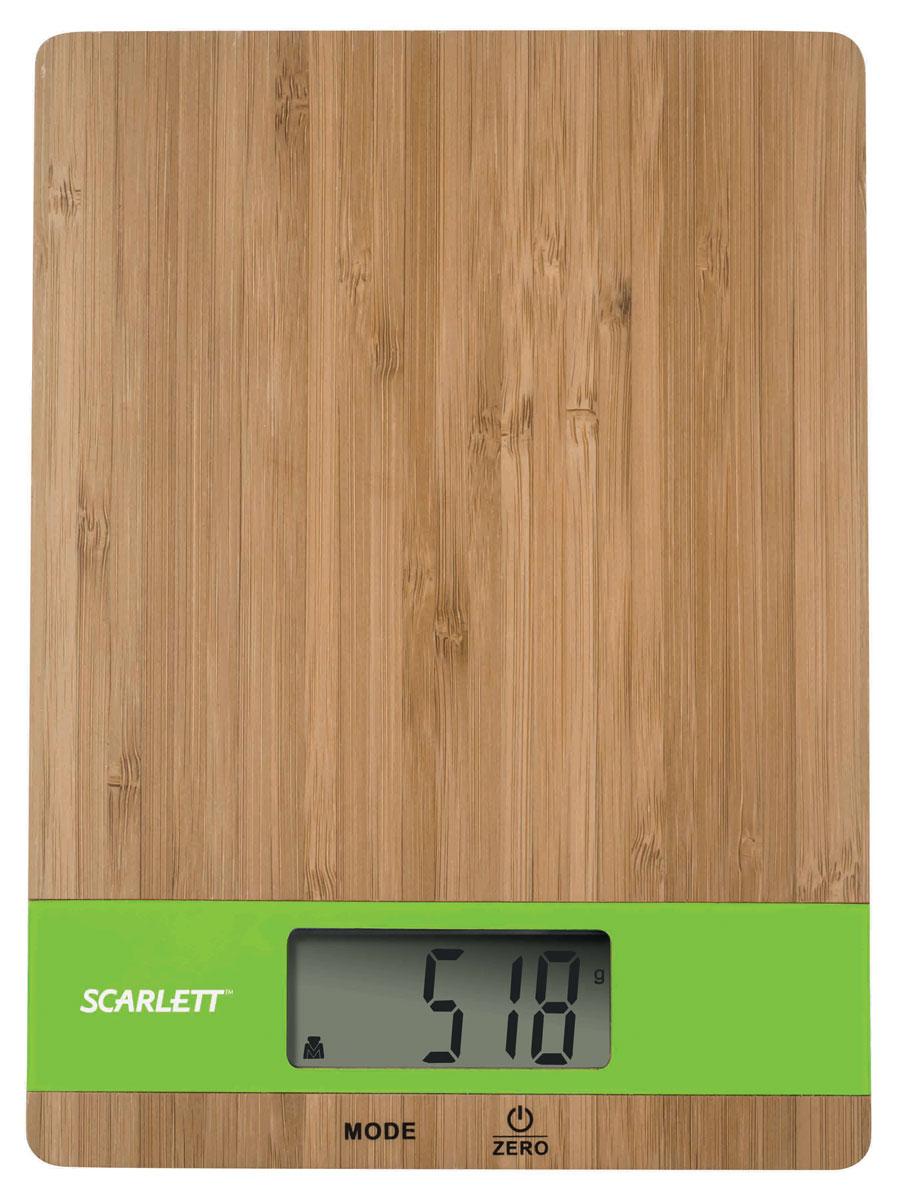 Scarlett SC-KS57P01, Bamboo Green весы кухонныеSC-KS57P01_GКухонные электронные весы Scarlett SC-KS57P01 - незаменимые помощники современной хозяйки. Они помогут точно взвесить любые продукты и ингредиенты. Кроме того, позволят людям, соблюдающим диету, контролировать количество съедаемой пищи и размеры порций. Предназначены для взвешивания продуктов с точностью измерения 1 грамм.