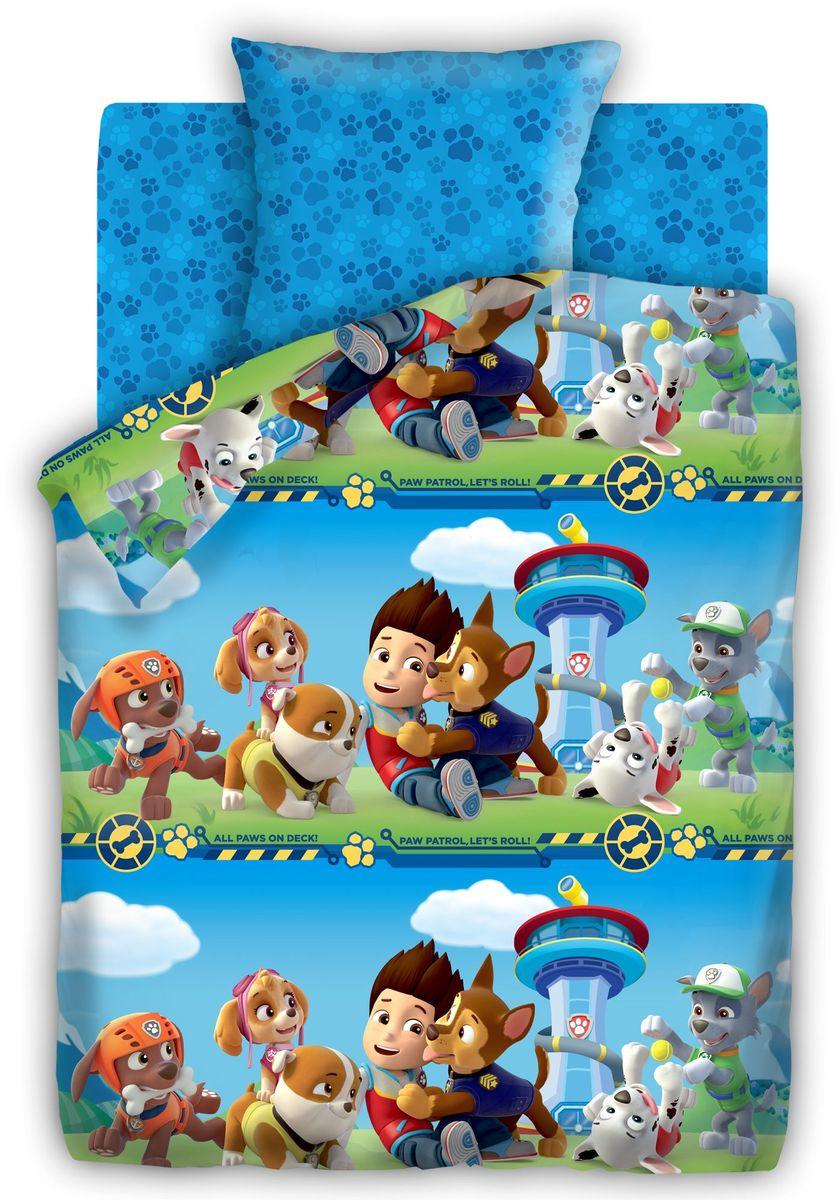 Комплект детского постельного белья Щенячий патруль Патруль, 1,5-спальный, наволочки 70х70
