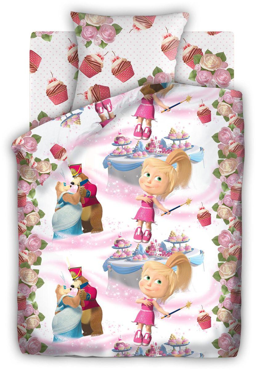 Комплект детского постельного белья Маша и Медведь Праздник, 1,5-спальный, наволочки 70х70 книги эгмонт маша и медведь один дома праздник на льду снежные приключения