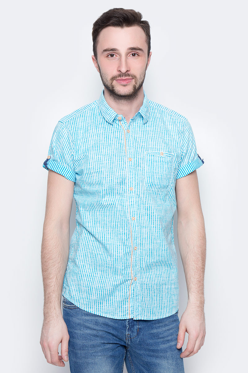 Рубашка мужская Tom Tailor, цвет: голубой, белый. 2033332.00.10_6633. Размер M (48) рубашка мужская overlord han 152 2015