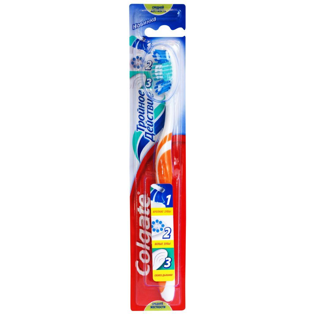Colgate Зубная щетка Тройное действие средняя цвет оранжевый