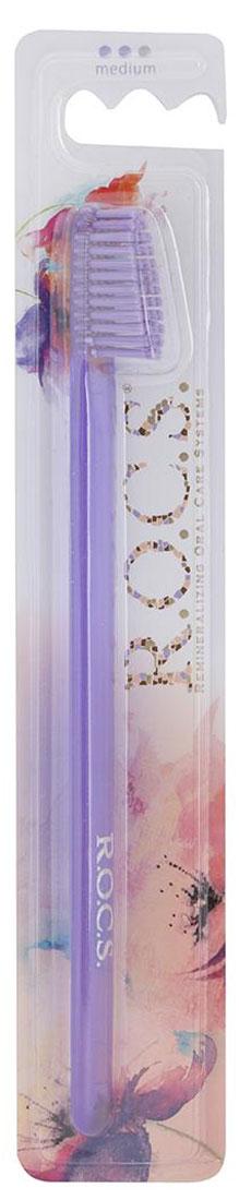 R.O.C.S. Зубная щетка Классическая, средняя жесткость, цвет: светло-фиолетовый03-04-009_светло-фиолетовыйЗубная щетка R.O.C.S. Классическая разработана при участии стоматологов.Нетрадиционная скошенная подстрижка щетины обеспечивает: Эффективную чистку: качественное удаление зубного налета и поверхностных окрашиваний; Высокое качество очистки труднодоступных участков зубного ряда;Легкий доступ к дальним зубам.Тонкая ручка предотвращает излишнее давление при чистке. Высококачественная щетина имеет закругленные иотполированные на концах текстурированные щетинки, которые обеспечивают быстрое и интенсивное очищениеблагодаря увеличенной очищающей поверхности и особенностям аквадинамики волокна. Товар сертифицирован.