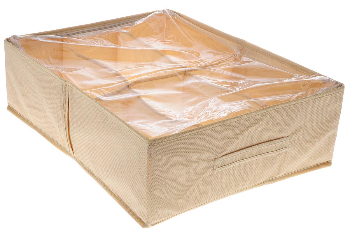 Органайзер для обуви Все на местах Minimalistic, цвет: бежевый, 6 отделений, 53 х 40 х 15 см1011004Компактный складной органайзер изготовлен из высококачественного нетканого материала, который обеспечивает естественную вентиляцию. Материал позволяет воздуху свободно проникать внутрь, но не пропускает пыль. Органайзер отлично держит форму, благодаря вставкам из ПВХ. Изделие имеет 6 секций для хранения обуви.Такой органайзер позволит вам хранить обувь компактно и удобно. Размер секции: 26,5 х 20 см.