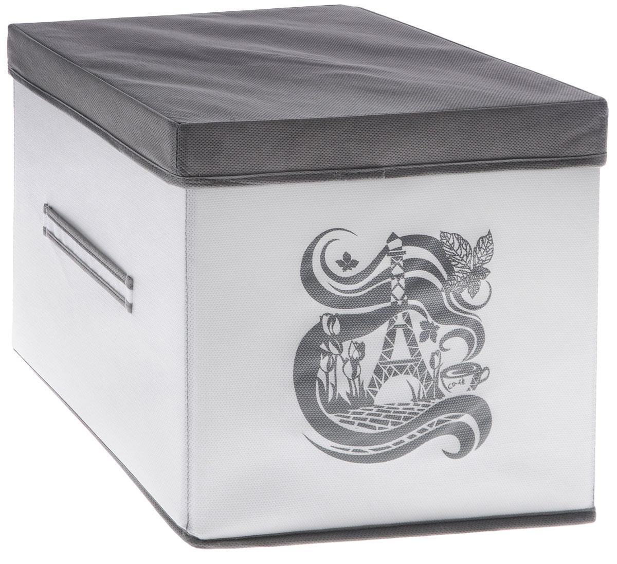 Коробка для вещей Все на местах Париж, с крышкой, цвет: серый, белый, 30 х 30 х 30 см1003036.Коробка с крышкой Все на местах выполнена из высококачественного нетканого материала, который обеспечивает естественную вентиляцию и предназначен для хранения вещей или игрушек. Он защитит вещи от повреждений, пыли, влаги и загрязнений во время хранения и транспортировки. Размер коробки: 30 х 30 х 30 см.