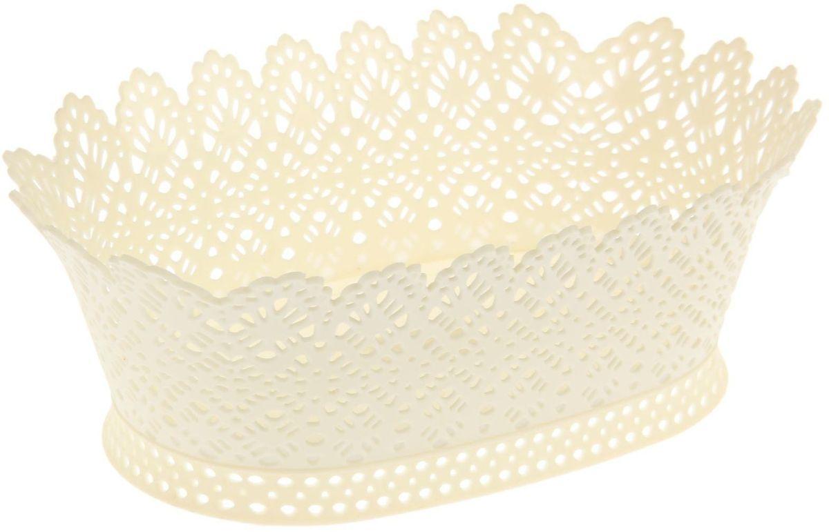 Корзинка Fimako, ажурная, цвет: кремовый, 20 х 28 х 10 см1456068От качества посуды зависит не только вкус еды, но и здоровье человека. Небольшая ажурная корзинка Fimako изготовлена из прочного и легкого пластика. Предназначена для украшения интерьера и сервировки стола. Размер: 20 х 28 х 10 см.