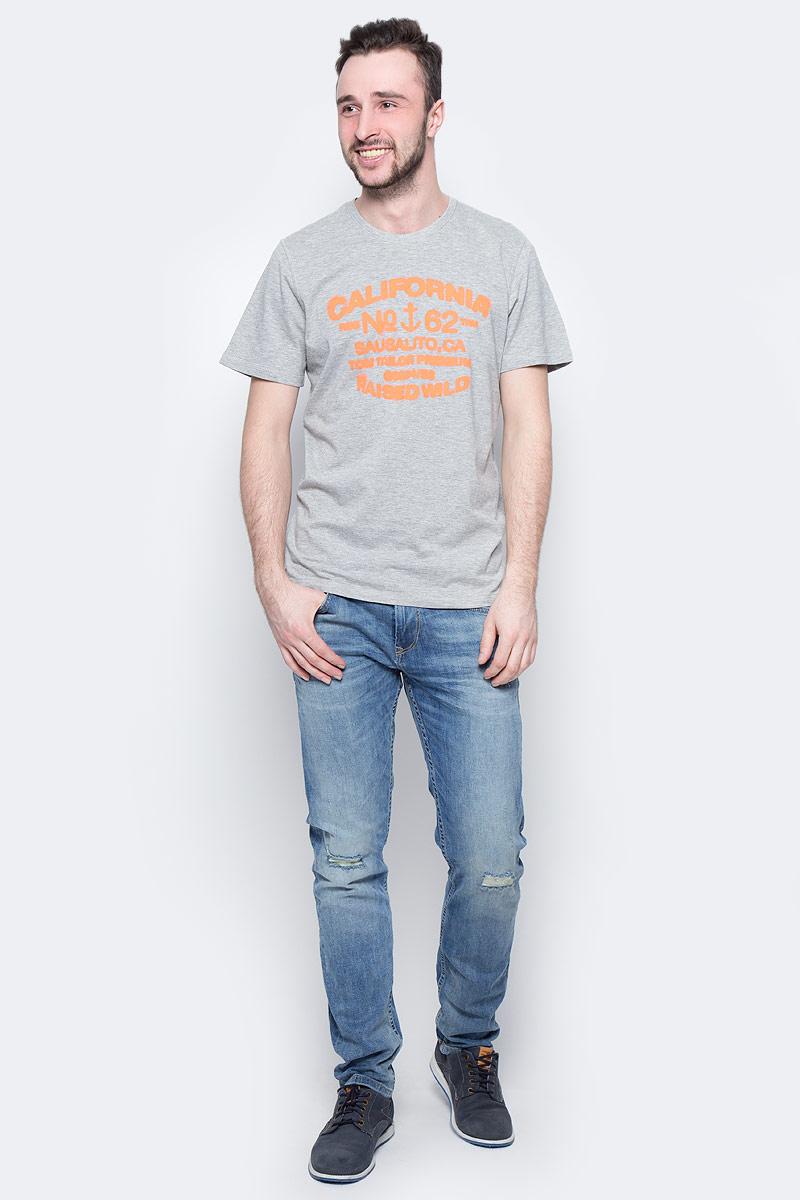 Футболка мужская Tom Tailor, цвет: серый меланж. 1037703.00.10_2651. Размер XXL (54)1037703.00.10_2651Мужская футболка Tom Tailor выполнена из натурального хлопка. Модель с круглым вырезом горловины и короткими рукавами оформлена оригинальным принтом.Такая футболка станет стильным дополнением к вашему гардеробу, она подарит вам комфорт в течение всего дня!