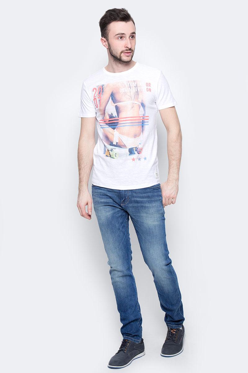 Футболка мужская Tom Tailor Denim, цвет: белый. 1037920.01.12_2000. Размер S (46) футболка tom tailor denim tom tailor denim to793ewzfb71