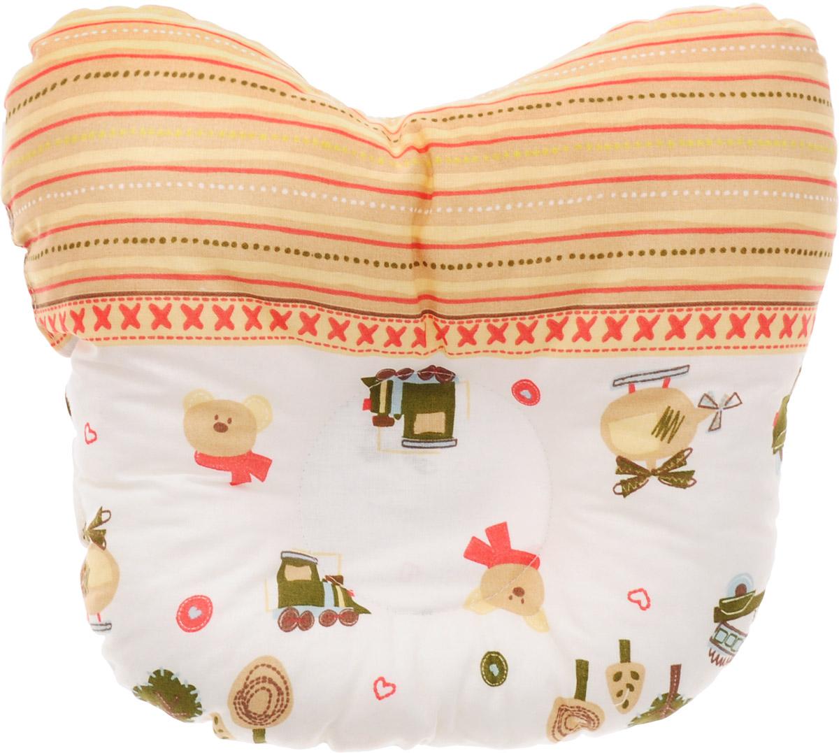 Сонный гномик Подушка анатомическая для младенцев Машинки и мишки 27 х 27 см -  Детский текстиль