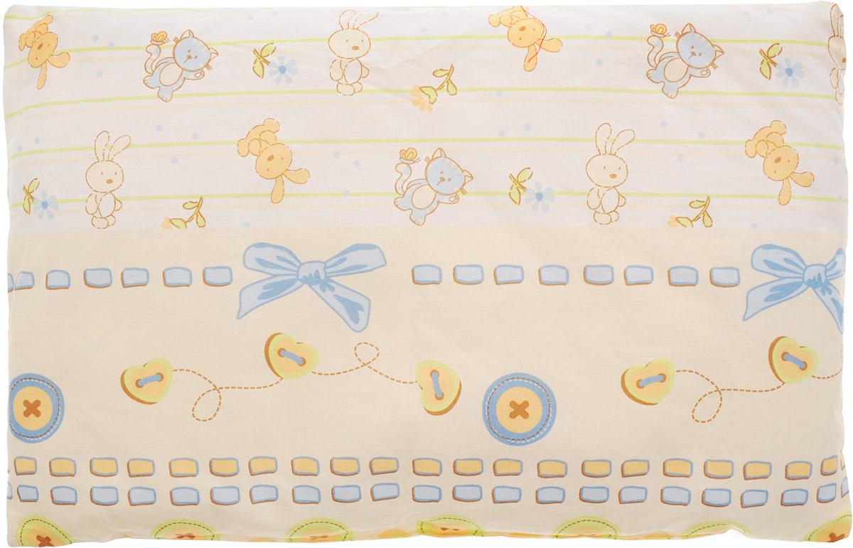 Сонный гномик Подушка детская Заяц и кот цвет белый бежевый голубой 60 х 40 см555Б_белый, бежевый, голубойДетская подушка Сонный гномик Заяц и кот изготовлена из бязи - 100% хлопка и создана для комфортного сна вашего малыша.Гипоаллергенные ткани - это залог спокойствия, здорового сна малыша и его безопасности. Наполнитель (40% бамбук, 60% полиэстер) позволит коже ребенка дышать, создавая естественную вентиляцию. Мягкий и воздушный, он будет правильно поддерживать головку ребенка во время сна. Ткань наволочки - нежная и одновременно износостойкая - прослужит вам долгие годы.Уход: не гладить, только ручная стирка, нельзя отбеливать, нельзя выжимать и сушить в стиральной машине, химчистка запрещена.