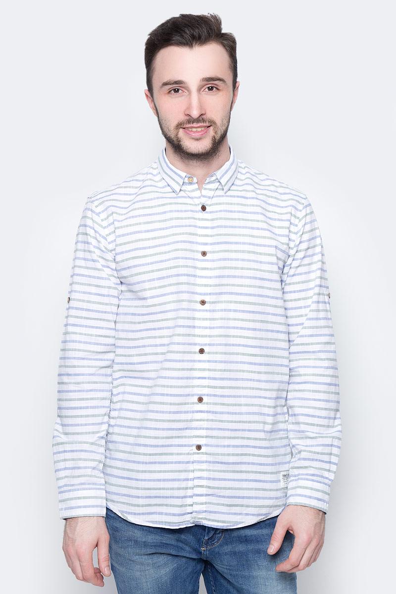 Рубашка мужская Tom Tailor Denim, цвет: белый, голубой, хаки. 2033365.00.12_6696. Размер S (46) brunello cucinelli короткое платье