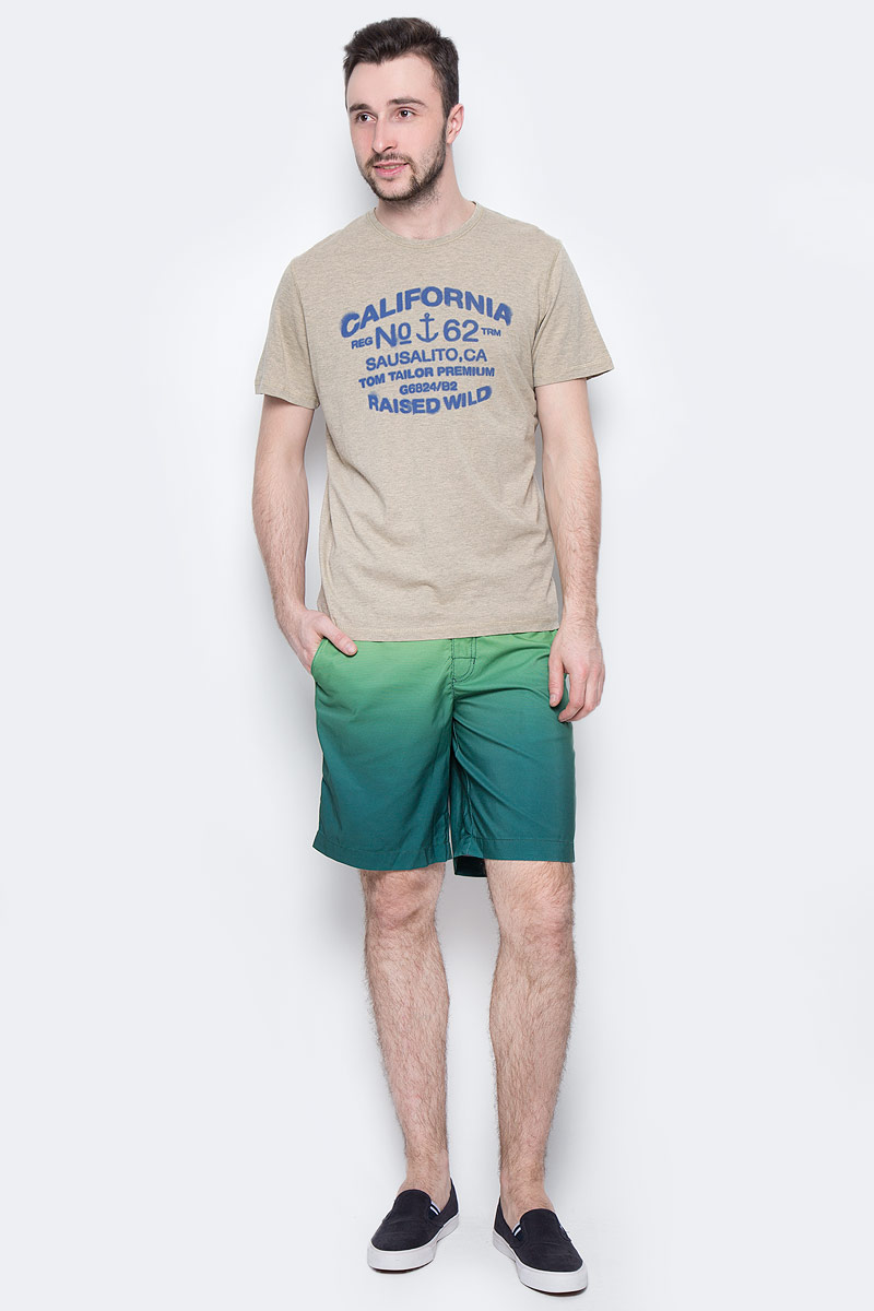 Футболка мужская Tom Tailor, цвет: бежево-серый. 1037703.00.10_8179. Размер S (46)1037703.00.10_8179Мужская футболка Tom Tailor выполнена из натурального хлопка. Модель с круглым вырезом горловины и короткими рукавами оформлена оригинальным принтом.Такая футболка станет стильным дополнением к вашему гардеробу, она подарит вам комфорт в течение всего дня!