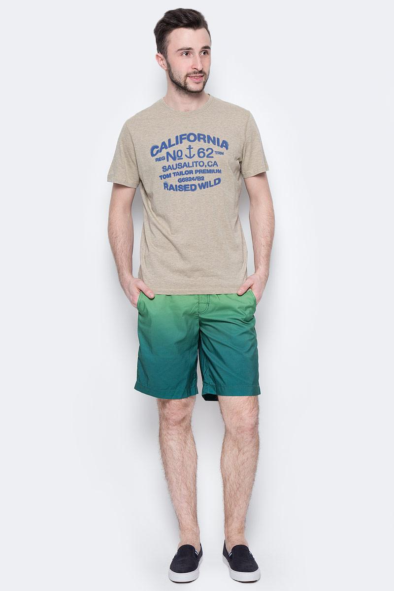 Шорты мужские Tom Tailor, цвет: зеленый, темно-бирюзовый. 6510284.00.10_7766. Размер L (50)6510284.00.10_7766Стильные мужские шорты Tom Tailor выполнены из 100% полиэстера. Шорты с поясом на талии затягиваются с помощью шнурка. По бокам предусмотрены два прорезных кармана.Имеется имитация ширинки. Оформлено изделие оригинальным принтом.