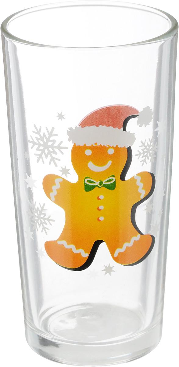 Стакан OSZ Ода. Печенье. Пряничный человечек, цвет: прозрачный, оранжевый, 230 мл фужер osz патио цвет прозрачный 50 мл
