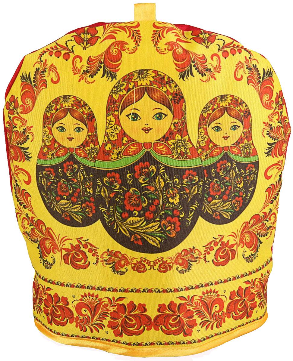 Грелка на чайник Матрешка, 25 х 24 х 3 см2333851Текстильные товары пользовались большой популярностью во все времена. Это беспроигрышный подарок, ведь все любят мягкие и приятные на ощупь ткани. Грелка на чайник — неповторимое сочетание необычного дизайна и высокого качества.