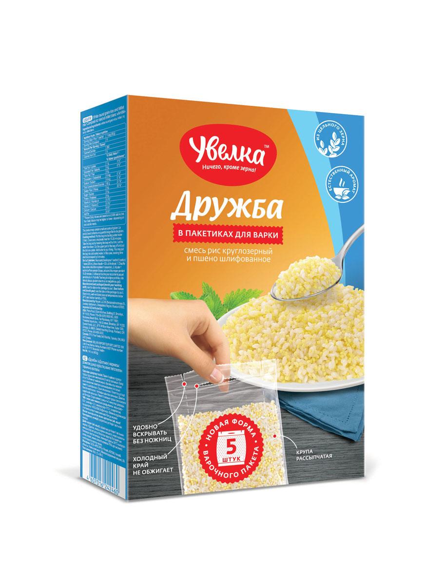 Увелка Дружба рис и пшено смесь в пакетах для варки, 5 шт по 80 г увелка крупа пшеничная в пакетах для варки 5 шт по 80 г