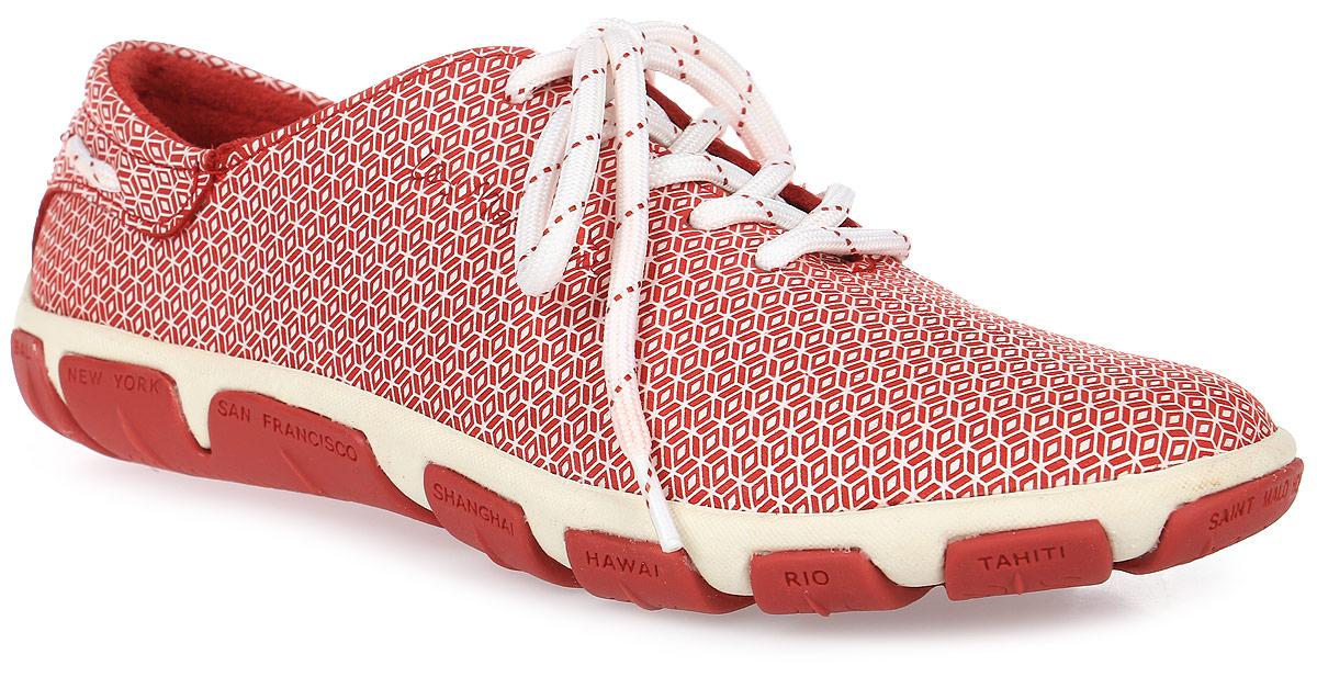 Кроссовки женские TBS Jazaru, цвет: красный, белый. JAZARU-A7056. Размер 38 (37)JAZARU-A7056Стильные женские кроссовки Jazaru от TBS - это легкость и свобода движения каждый день! Функциональные, практичные, удобные, они подходят для городской жизни и активного отдыха. Дизайн обуви позволяет носить ее под одежду любого стиля. Модель выполнена из натуральной кожи и оформлена оригинальным орнаментом. Внутренняя отделка и стелька также исполнены из кожи. Шнуровка контрастного цвета надежно фиксирует изделие на ноге. Резиновая подошва с рельефной поверхностью обеспечивает идеальное сцепление. В таких кроссовках вы всегда будете выглядеть модно и стильно и, конечно же, не останетесь незамеченной.