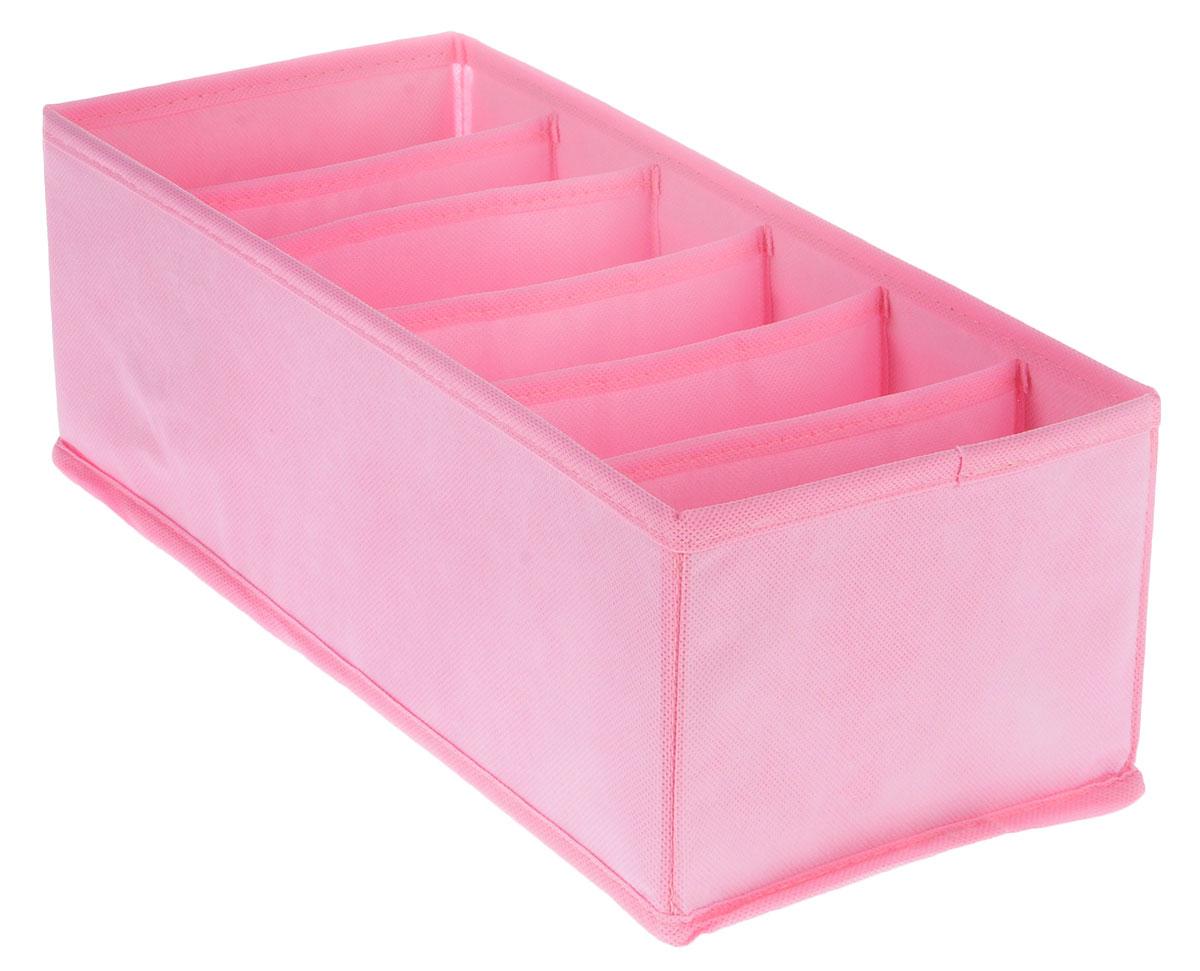 Органайзер Все на местах Minimalistic, цвет: розовый, 6 ячеек, 32 х 16 х 11 см органайзер для белья все на местах insta звезды 32 х 32 х 11 см 12 ячеек