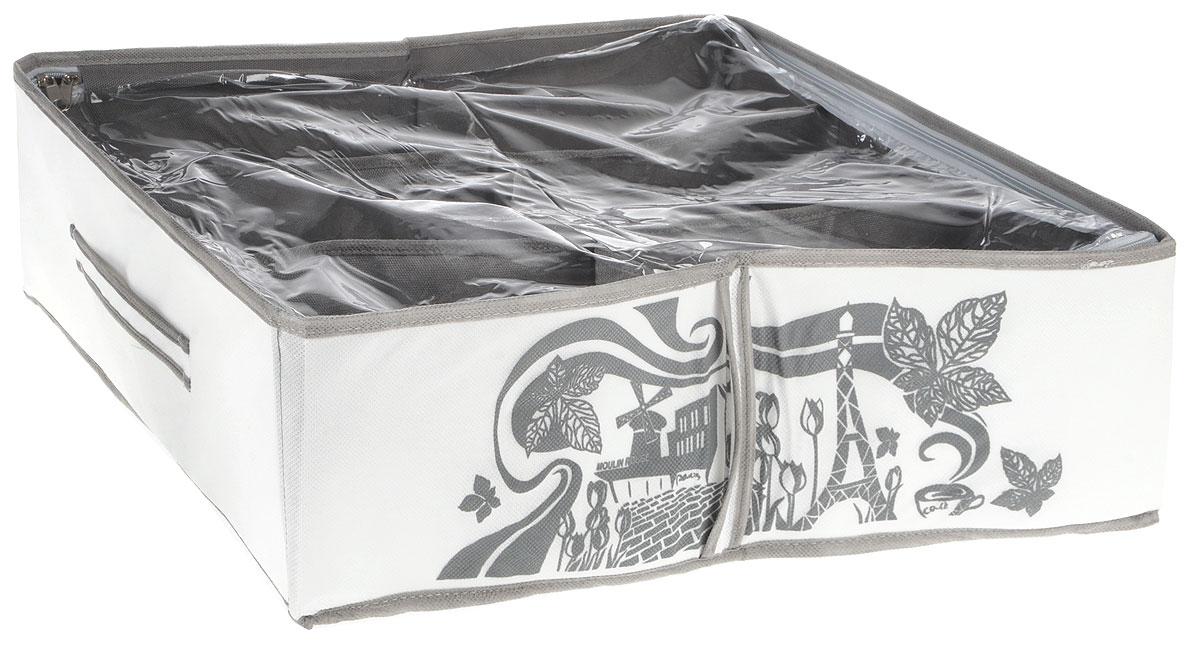 Кофр для хранения обуви Все на местах Париж, цвет: серый, белый, 6 секций, 53 x 40 x 15 см1003004Компактный складной органайзер с прозрачной крышкойиз высококачественного нетканого материала, который обеспечивает естественную вентиляцию. Материал позволяет воздуху свободно проникать внутрь, но не пропускает пыль. Органайзер отлично держит форму, благодаря вставкам из ПВХ. Изделие имеет 6 секций для хранения обуви.Такой органайзер позволит вам хранить обувь компактно и удобно. Размер секции: 23 х 13 см.
