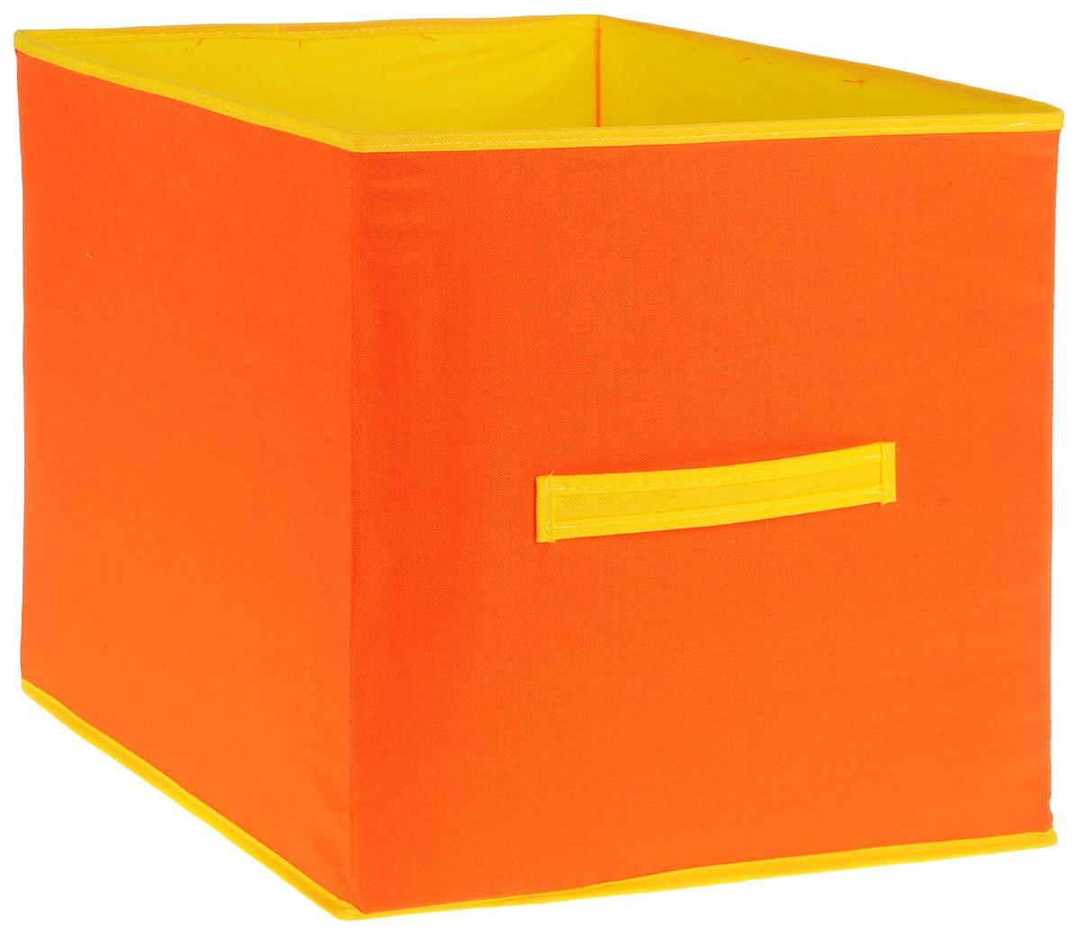Коробка для игрушек Все на местах Sunny Jungle, цвет: желтый, оранжевый, 40 х 40 х 40 см1071032Коробка для хранения игрушек выполнена из высококачественного нетканого материала (спанбонда), который обеспечивает естественную вентиляцию, позволяя воздуху проникать внутрь, но не пропускаетпыль. Вставки из ПВХ хорошо держат форму.Такая коробка легко разбирается и собирается, она поможет удобно хранить игрушки. Размер коробки: 40 см х 40 см х 40 см.