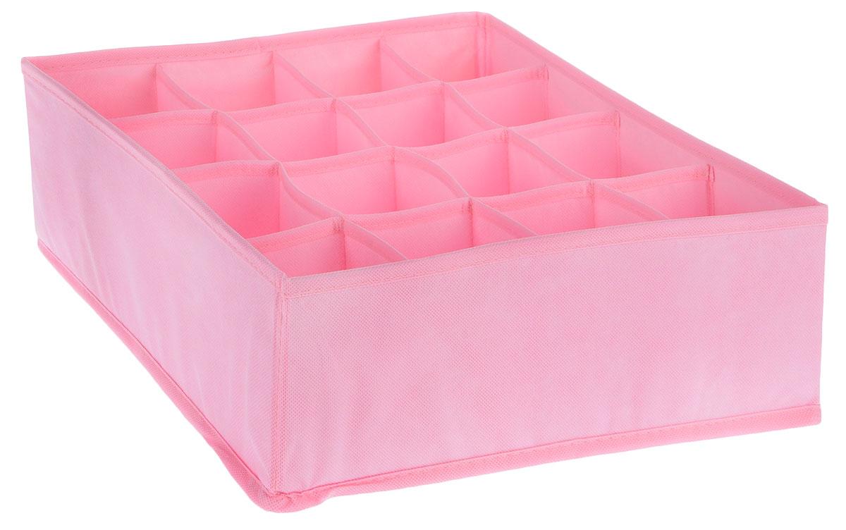 Органайзер Все на местах Minimalistic, цвет: розовый, 16 ячеек, 32 х 32 х 11 см1014043Органайзер поможет упорядочить размещение небольших вещей. Изделиевыполнено из высококачественного нетканого материала, который обеспечиваетестественную вентиляцию, позволяя воздуху проникать внутрь, но не пропускаетпыль. Вставки из ПВХ хорошо держат форму. Изделие содержит 16 секций.Органайзер легко раскладывается и складывается. Оригинальный дизайн придется по вкусу ценителям эстетичного хранения. Размер органайзера в разложенном виде: 32 х 32 х 11 см.
