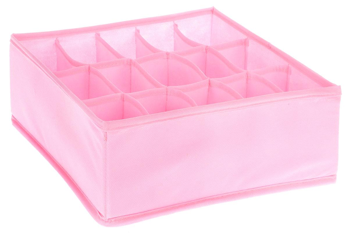 Органайзер Все на местах Minimalistic, цвет: розовый, 15 ячеек, 30 х 24 х 11 см1014049Органайзер поможет упорядочить размещение небольших вещей. Изделие выполнено из высококачественного нетканого материала, который обеспечивает естественную вентиляцию, позволяя воздуху проникать внутрь, но не пропускает пыль. Вставки из ПВХ хорошо держат форму. Изделие содержит 15 секций. Органайзер легко раскладывается и складывается. Оригинальный дизайн придется по вкусу ценителям эстетичного хранения. Размер органайзера в разложенном виде: 30 х 24 х 11 см.