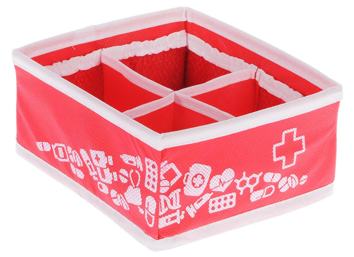 Аптечка домашняя Все на местах Comfort mini, универсальная, 15 х 15 х 8 см1010034Компактная складная аптечка с прозрачной крышкой изготовлена из высококачественного нетканого материала, которыйобеспечивает естественную вентиляцию. Материалпозволяет воздуху свободно проникать внутрь, но непропускает пыль. Органайзер отлично держит форму,благодаря вставкам из ПВХ. Изделие имеет 4 и 8 кармашков секций для хранения лекарств.
