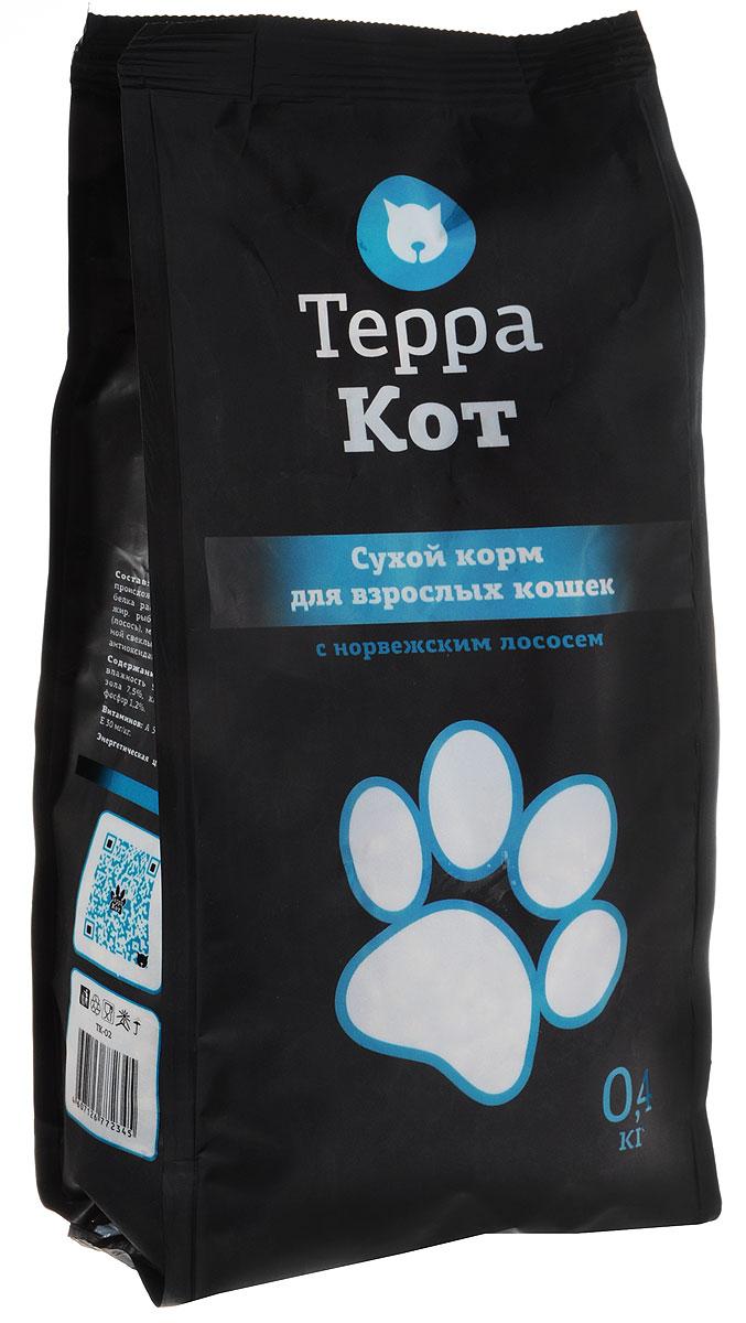 Сухой корм Терра Кот для взрослых кошек, с норвежским лососем, 0,4 кг00-00000400Сухой корм Терра Кот - это полноценное сбалансированное питание для взрослых кошек, разработанное с использованием современных технологий.Сухой корм Терра Кот обеспечивает: крепкие кости и зубы; энергетический баланс; поддержку иммунитета; питание сердца; здоровую шерсть и кожу; витамины; отличное зрение; развитую мускулатуру; защиту ЖКТ. Характеристики:Состав: злаки, мясо и продукты животного происхождения, пшеничные отруби, экстракт белка растительного происхождения, рыбий жир, рыба и продукты переработки рыбы (лосось), минеральные добавки, пульпа сахарной свеклы (жом), витамины, пивные дрожжи, антиоксидант, таурин. Содержание питательных веществ: влажность 9%, протеин 27%, жир 10%, зола 7,5%, клетчатка 3%, кальций 1,3%, фосфор 1,2%. Витаминов: А 5000 МЕ/кг, D3 500 МЕ/кг, Е 30 МЕ/кг. Энергетическая ценность: 345 ккал/100 г. Вес: 0,4 кг. Артикул: 00-00000400.