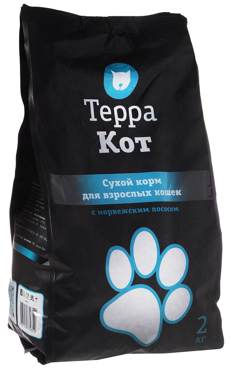Сухой корм Терра Кот для взрослых кошек, с норвежским лососем, 2 кг сухой корм терра кот для кошек для взрослых перепелка 10 кг