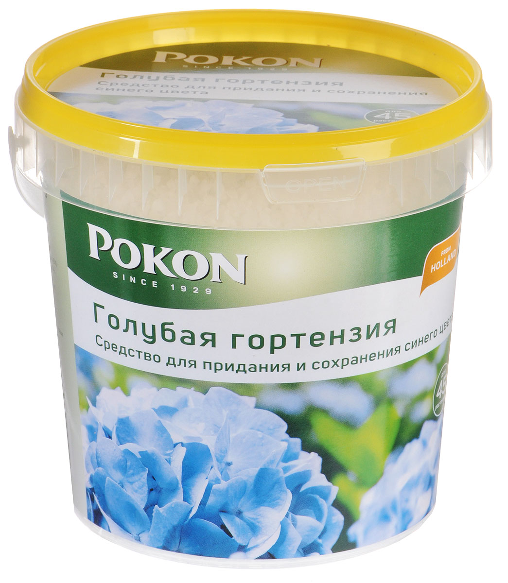 Средство для придания и сохранения синего цвета Pokon Голубая гортензия, 900 г7582811168/S343168ВСо временем голубые гортензии утрачивают свой цвет и становятся розовыми, если они растут в почве, бедной солями алюминия. У этой проблемы есть решение. Средство Pokon быстро возвращает соцветиям голубой гортензии яркий и насыщенный цвет.Инструкция по применению: - Отмерьте нужное количество мерной крышечкой (15-20 г на 1 растение, в зависимости от размера). - Растворите средство в воде для полива (10 г на 1 л воды). - Полейте растения. - Не применяйте при температуре воздуха выше +15°С. - Используйте с июля по сентябрь. Состав: на основе сульфата алюминия - Al2(SO4)3. Средство по уходу за растениями соответствует нормам ЕС. Товар сертифицирован.