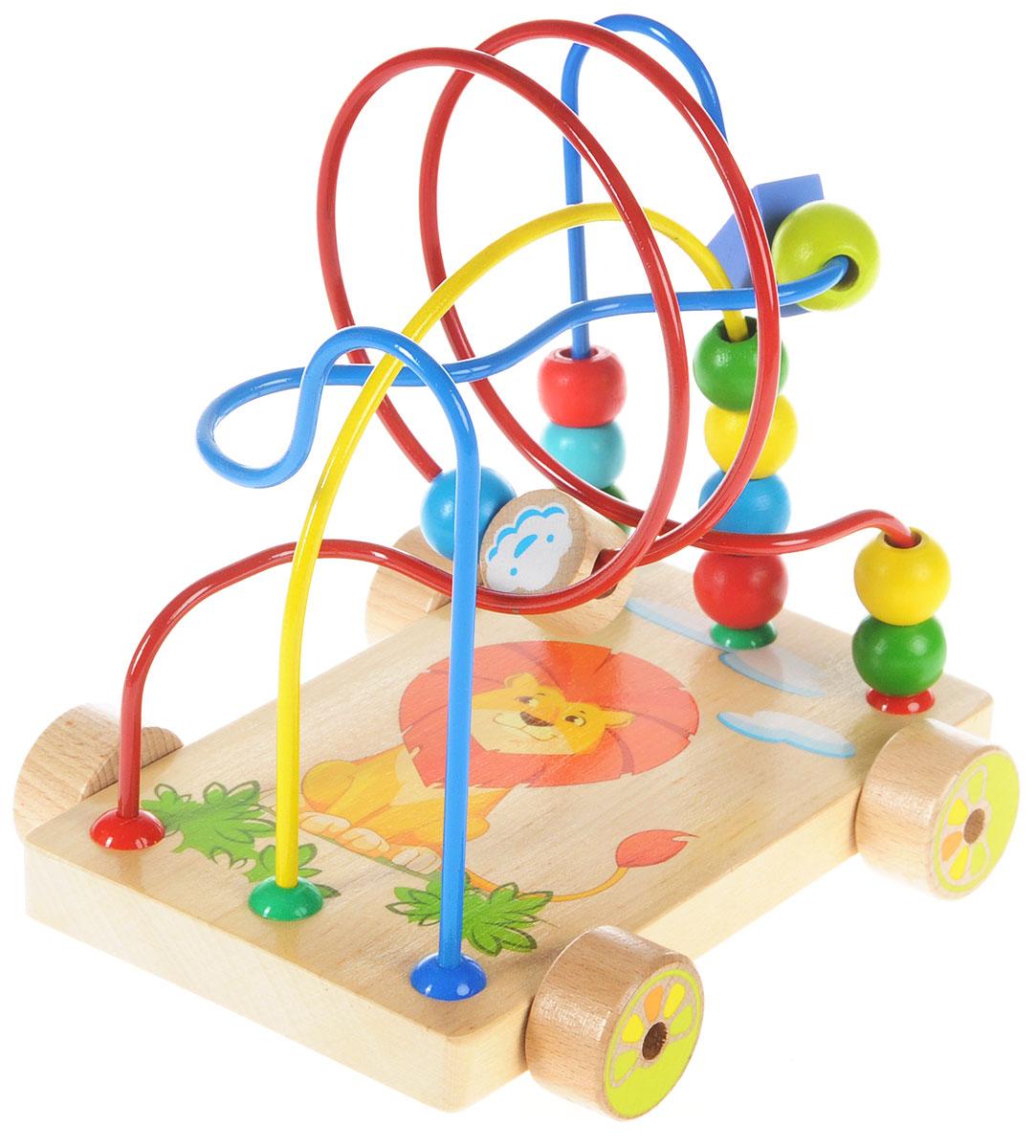 Мир деревянных игрушек Развивающий лабиринт-каталка Львенок мир деревянных игрушек лабиринт каталка бабочка малая