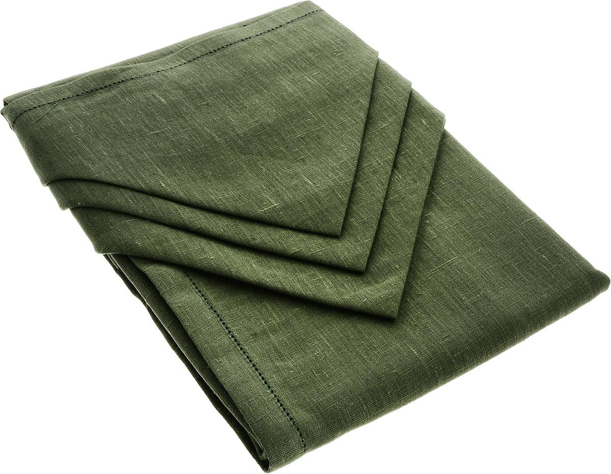 Комплект столового белья Гаврилов-Ямский Лен, цвет: темно-зеленый, 7 предметов10со6861-3Комплект столового белья Гаврилов-Ямский Лен состоит из скатерти и 6 салфеток, изготовленных из льна. Такой комплект станет отличным украшением интерьера столовой или кухни и придаст праздничный вид вашему столу. Изделия обладают плотной текстурой, высокой износостойкостью и прочностью.Лен - поистине уникальный природный материал, который отличается высокой экологичностью. Изделия изо льна обладают уникальными потребительскими свойствами. Скатерти из натурального льна придадут вашему дому уют и тепло натурального материала. История льна восходит к Древнему Египту: в те времена одежда изо льна считалась достойной фараонов! На Руси лен возделывали с незапамятных времен - изделия из льняной ткани считались показателем достатка, а льняная одежда служила символом невинности и нравственной чистоты. Размер скатерти: 140 х 180 см. Размер салфетки: 42 х 42 см.