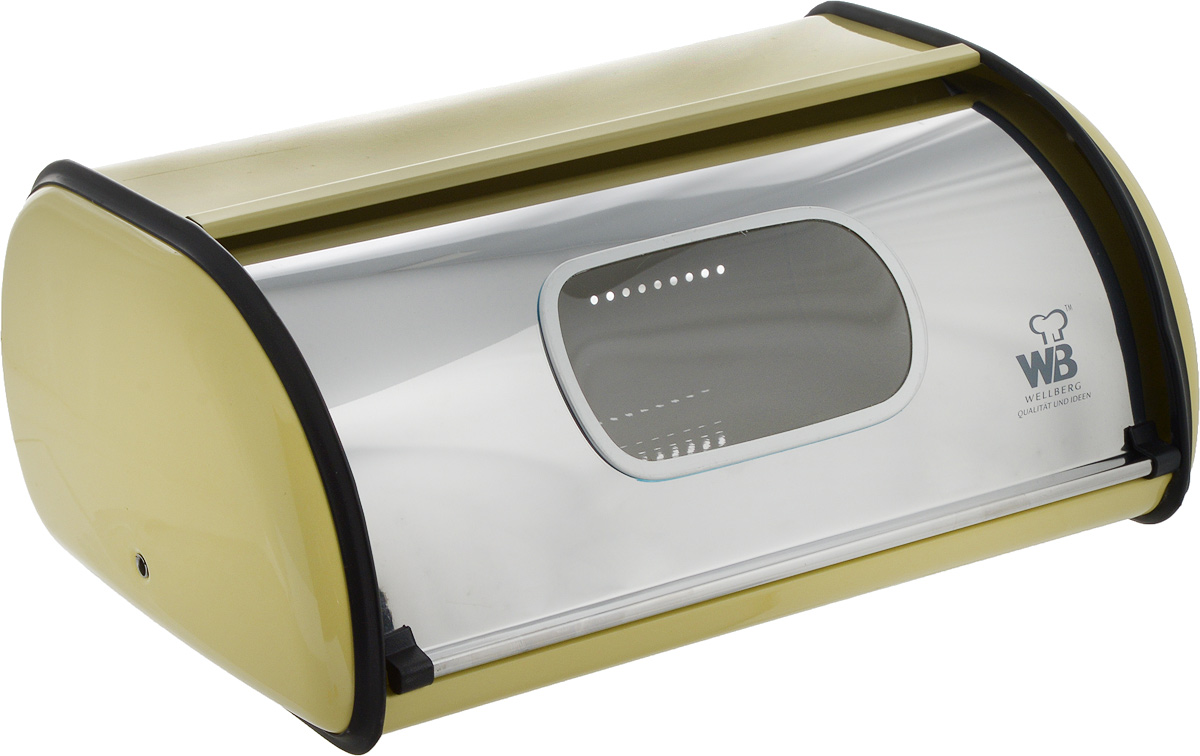 Хлебница Wellberg Felica, цвет: желтый, 36 x 24 x 15 см. 7024WB7024WBХлебница Wellberg Felisa, выполненная из высококачественной нержавеющей стали, позволит сохранить ваш хлеб свежим и вкусным. Изделие оснащено плотно закрывающейся крышкой. На задней стенке расположены отверстия для циркуляции воздуха. Стильный яркий дизайн хлебницы выгодно дополнит любой кухонный интерьер. Хлебница надолго сохранит свежесть, мягкость, аромат хлеба и других хлебобулочных изделий.