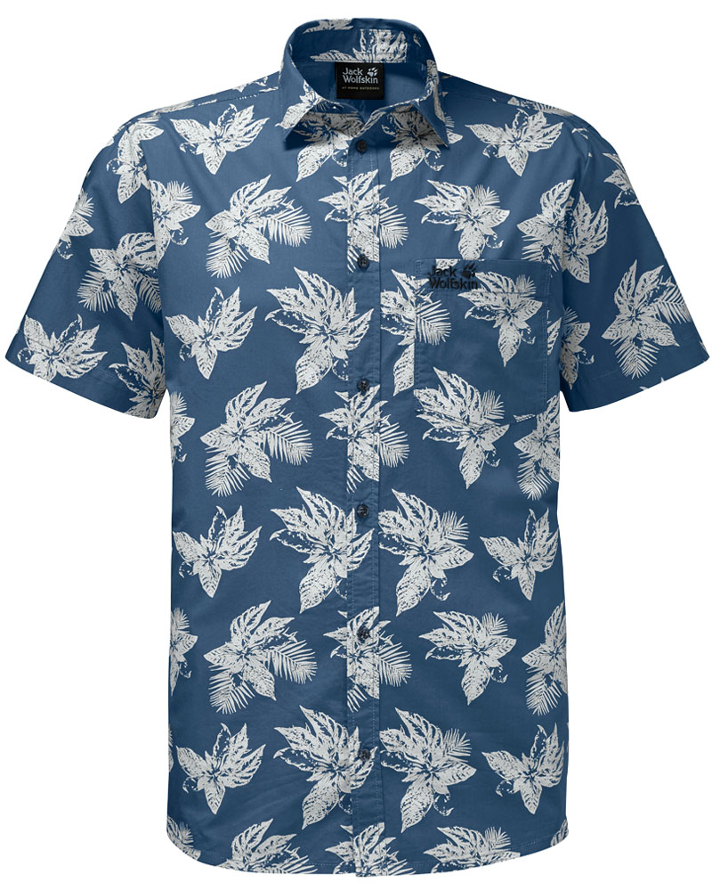 Рубашка мужская Jack Wolfskin Hot Chili Tropical Shirt, цвет: синий. 1402321-7863. Размер XXL (54) рубашки jack wolfskin рубашка hot chili men