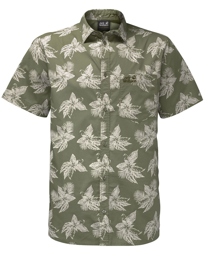 Рубашка мужская Jack Wolfskin Hot Chili Tropical Shirt, цвет: хаки. 1402321-7892. Размер M (44/46) рубашки jack wolfskin рубашка hot chili men