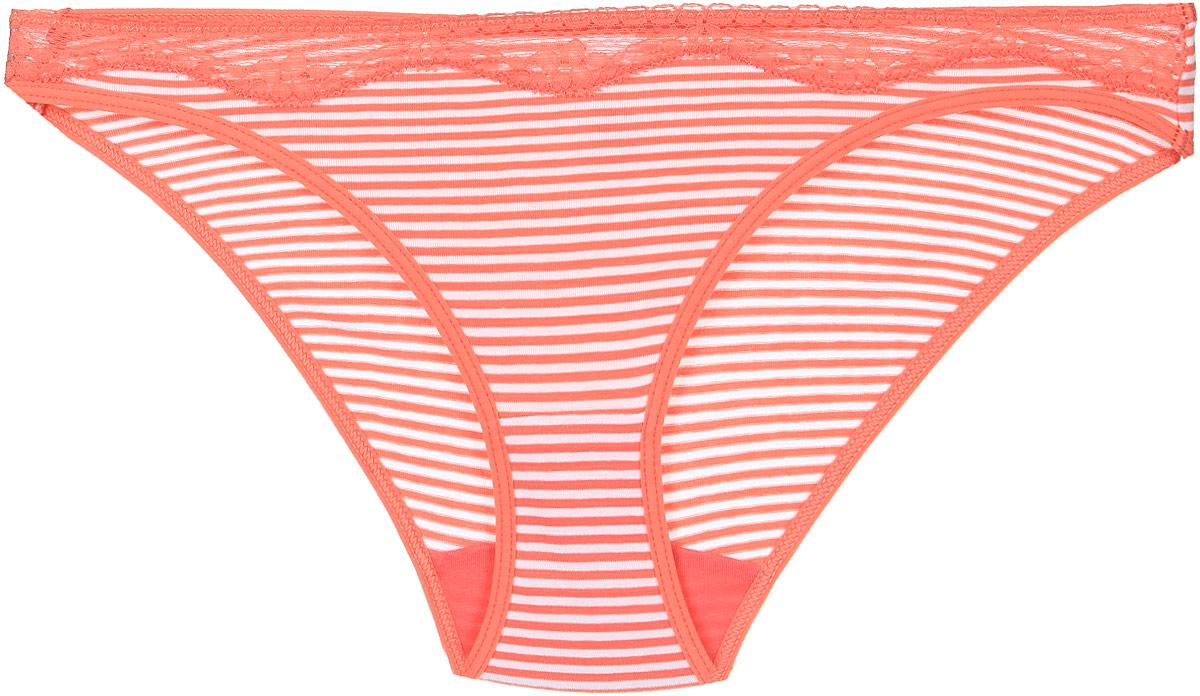 Купить Трусы женские Lowry, цвет: белый, коралловый, полоска. LDB-288. Размер S (44)