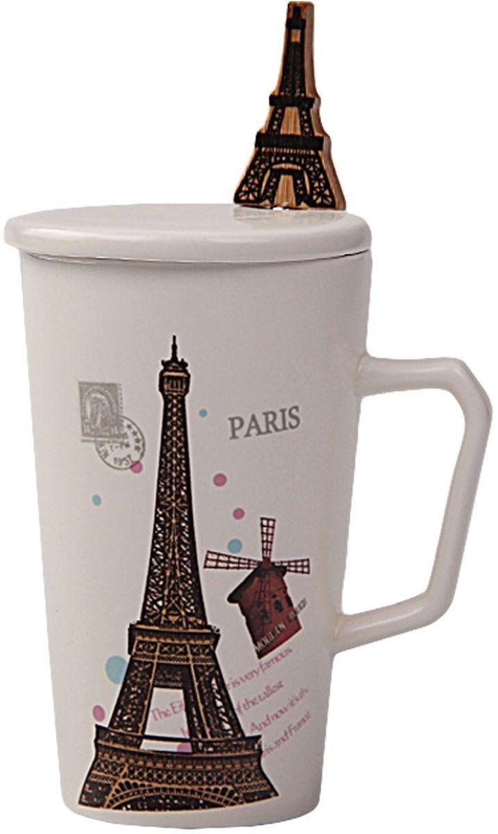 Кружка Patricia Париж, с ложкой и крышкой, 350 мл. IM99-0553/1IM99-0553/1Кружка выполнена из керамики высшего качества. В комплекте идет ложка из стали. Изделие декорировано рисунком с изображением эйфелевой башни. Кружка 12,5х7 см, объем 350 мл ложка длина 16,5 см.